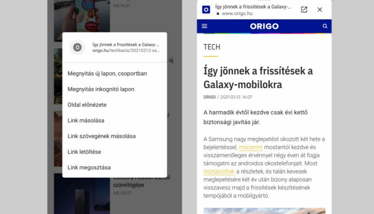 Ügyes funkciót kapott az androidos Chrome – Origo