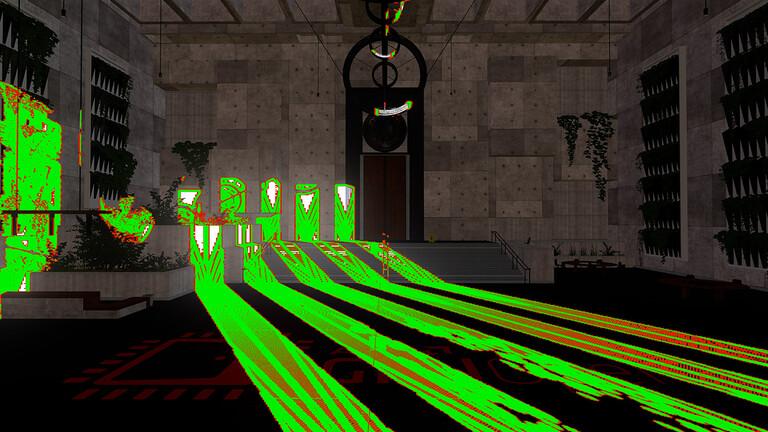 Hybrid Shadows Sample, zöldel jelölve azokat a pixeleket, amelyeken sugárkövetés történt